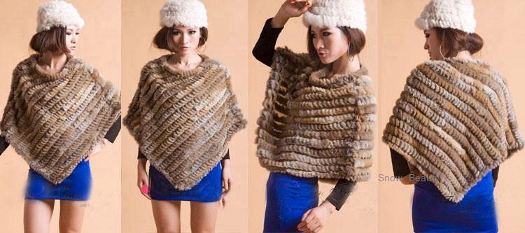 natural real knitted rabbit fur poncho shawl (12)