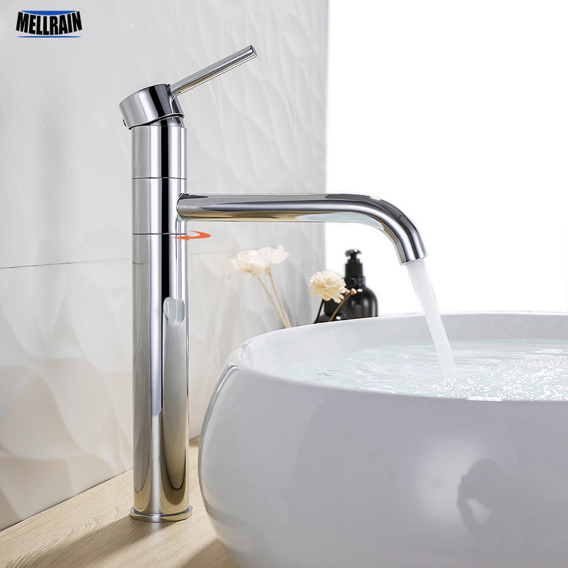 rotate bathroom faucet solid brass gold long style basin water mixer tap single hole polished chrome sink hardware
