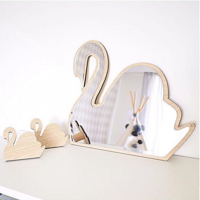 INS Nordic Style Kids Decoration Creative Wooden Mirror Lovely Hanging Decoration Baby Room Wall Cartoon Pendant Home Decor