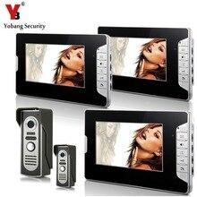 YobangSecurity Video Doorbell 7″Inch Color Video Door Phone Doorbell Intercom Night Vision Home Security Kit 2 Camera 3 Monitor