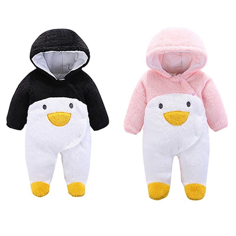 Baby Rompers Winter Penguin Boy Clothes Thick Boys Girls Overalls Hooded Newborn Baby Jumpsuits Warm Cartoon Climbing