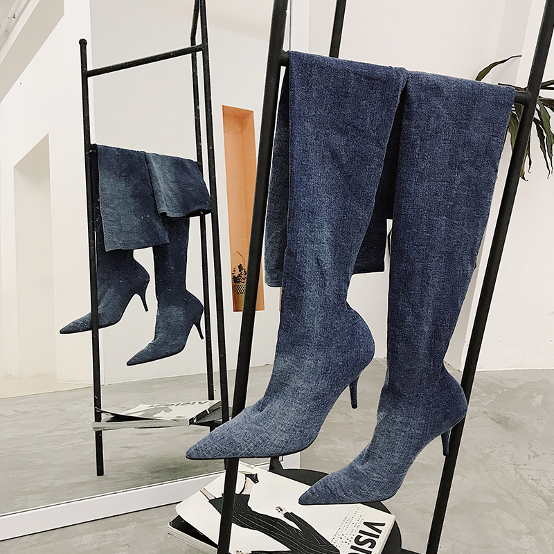 Denim Women Boots Hommes Chaussures Thigh High Boots Sock Boots Chic Runway Star Shoes Women Autumn Winter Long Booties FashionDenim Women Boots Hommes Chaussures Thigh High Boots Sock Boots Chic Runway Star Shoes Women Autumn Winter Long Booties Fashion