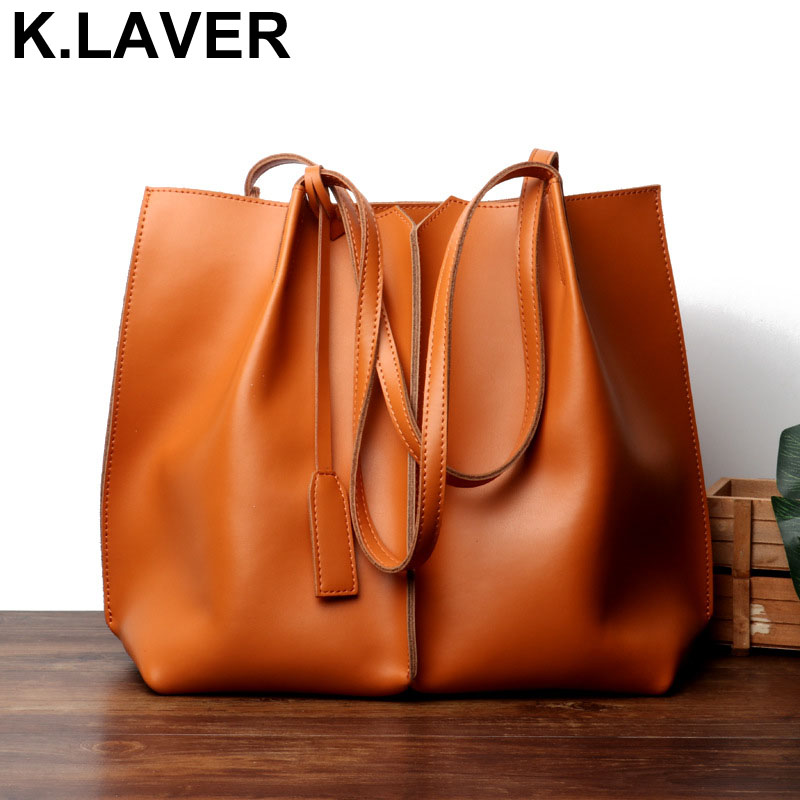 K.LAVER Women Genuine Leather Shoulder Bag Cowhide Ladies Messenger Bags Fashion Brown Shopping Tote Bag Designer Handbags Tote 2017 new female genuine leather handbags first layer of cowhide fashion simple women shoulder messenger bags bucket bags