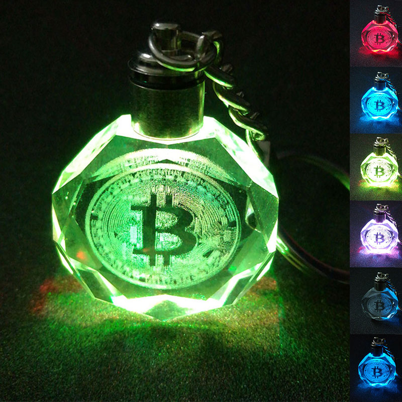 K9 Crystal Pendant Keychain Bitcoin Shape Laser Engraved Flash Color Changing Led Light Chain Keyring Kids Christmas Gifts