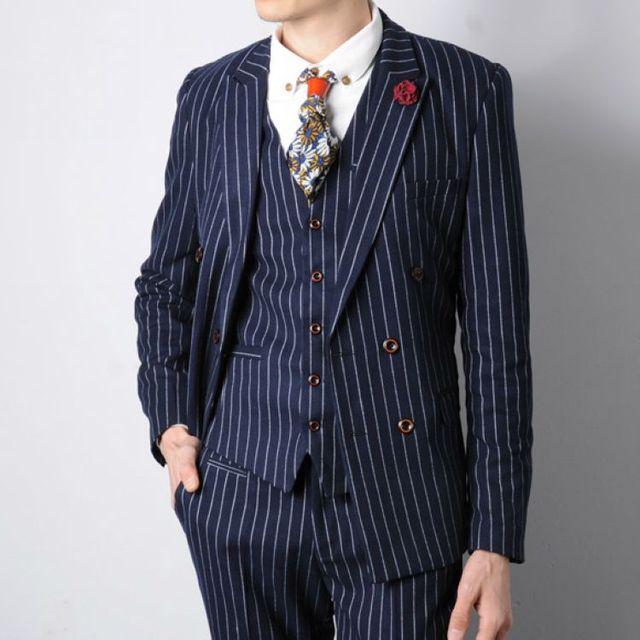 Vestes + Pantalon + gilet 2017 Nouveau Homme Vertical Rayures Costume Homme  Mince De Mariage Marié 9fce88056cc