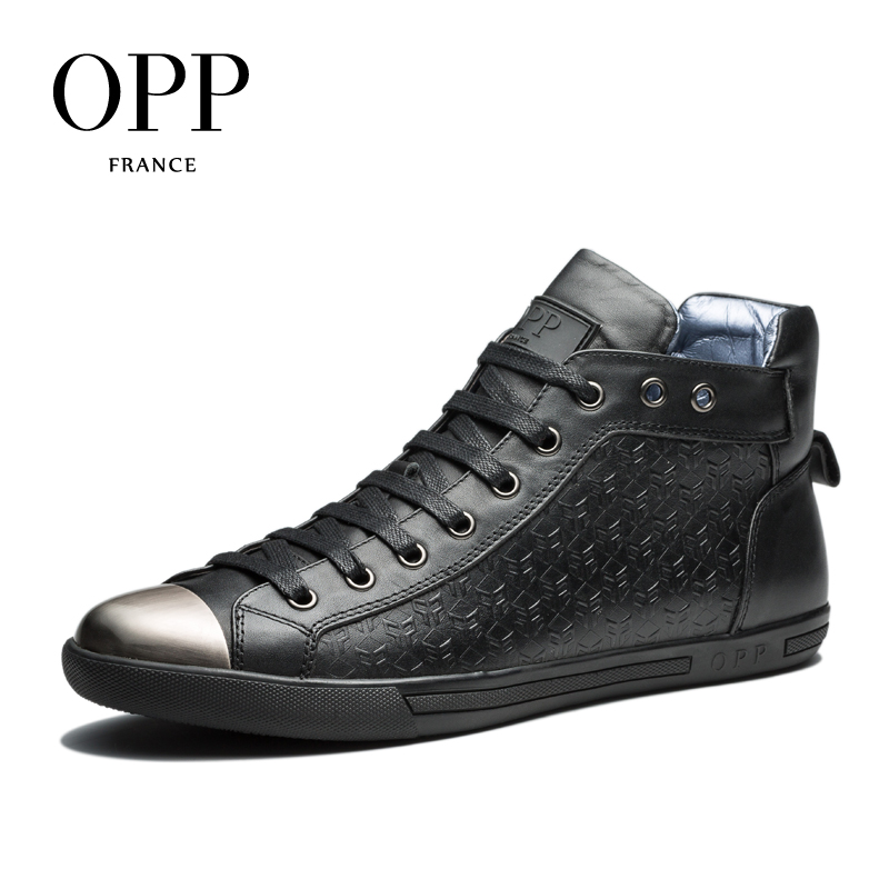 OPP Fretwork Men Shoes Winter Boots men High Top Men boots 2017 Genuine Leather Full Grain Leather Shoes Ankle Boots for men branded men s penny loafes casual men s full grain leather emboss crocodile boat shoes slip on breathable moccasin driving shoes