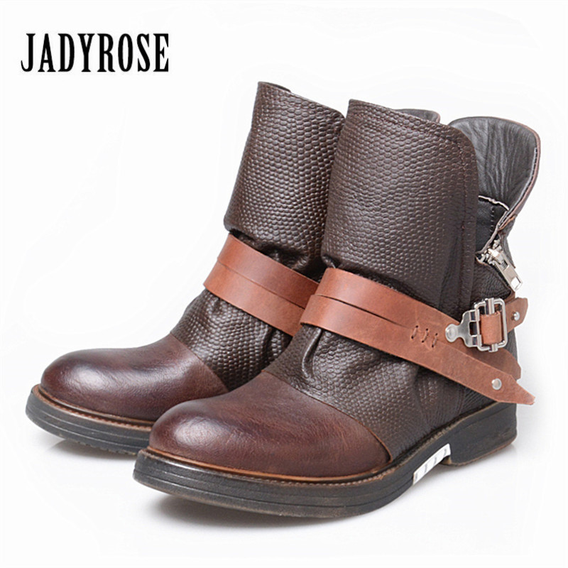 Jady Rose Vintage Flat Ankle Boots for Women Side Zipper Straps Genuine Leather Short Botas Female Platform Martin Boots 01c734450