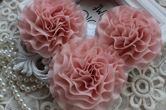 Pink chiffon flower puff material flower diy supplies fabric flower pink chiffon flower puff material flower diy supplies fabric flower mightylinksfo Images