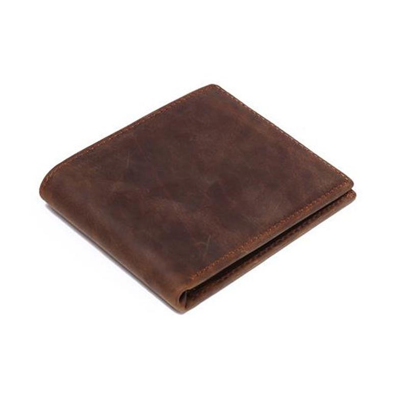 Male Wallet Men Genuine Leather Purse Vintage Wallet Crazy Horse Short Slim High Quality Credit Card Holder Dollar Price Wallet baellerry small mens wallets vintage dull polish short dollar price male cards purse mini leather men wallet carteira masculina