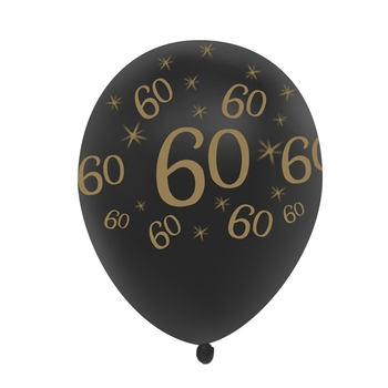 60th Birthday Balloon Black 10 Pcs