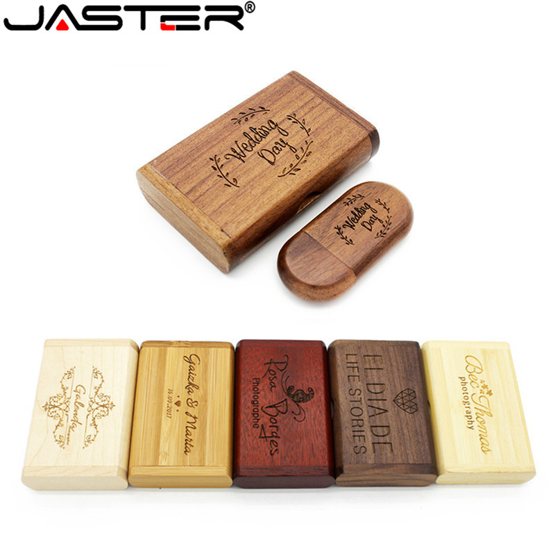 JASTER USB 2.0(over 10 PCS Free LOGO) Maple Wooden Usb+box Usb Flash Drive Walnut Pen Drive 8gb 16gb 32gb 64GB Photography Gift