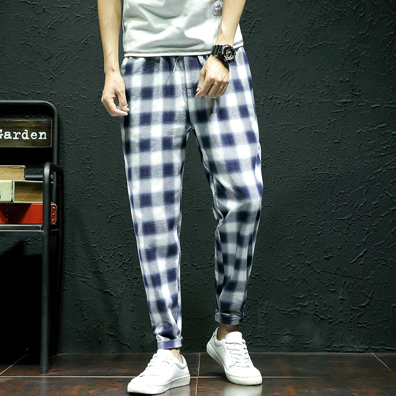 Autumn Pants Men 2018 Korean Slim Fit Mens Plaid Pant