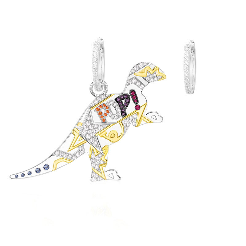 SLJELY 925 Sterling Silver Multicolor Dinosaur Cubic Zirconia Asymmetric Pop Rexy Dino Earrings Women Monaco April