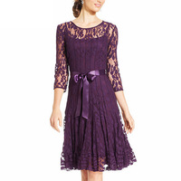 2017 Spring Fat Mm Big Size Hollow Out Lace Loose Dress Half Sleeved Elegant Womens Beautiful