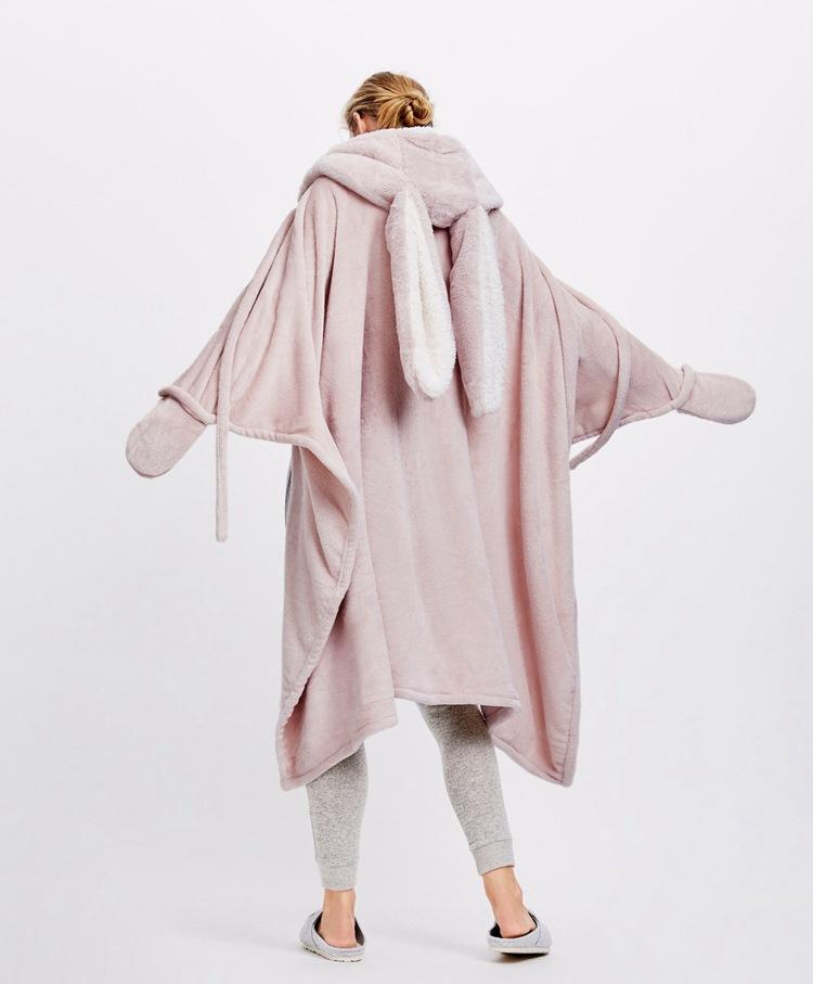 Cute Pink Comfy Blanket Sweatshirt Winter Warm Adults and Children Rabbit Ear Hooded Fleece Blanket Sleepwear Huge Bed Blankets 14