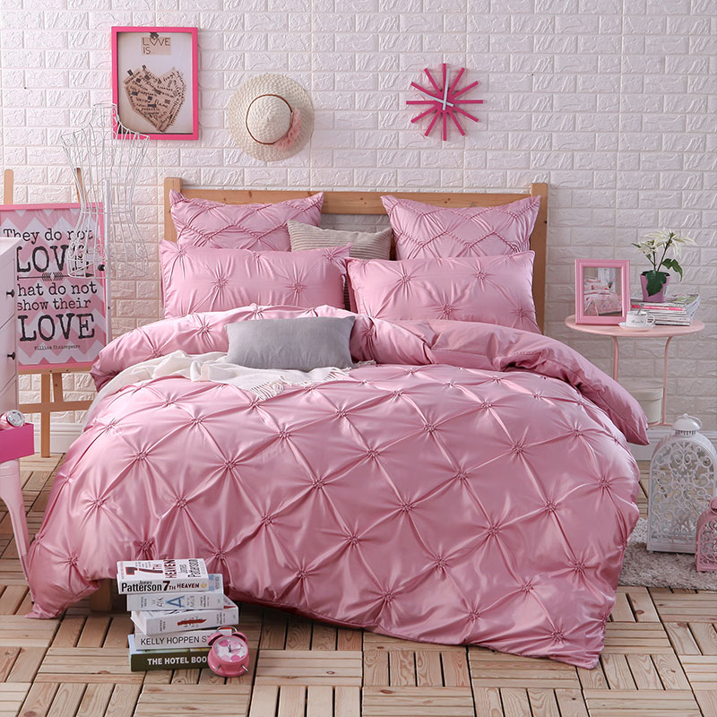 European Luxury Washed Silk Satin Bedding Sets Queen King Size 100 Cotton Bedding Solid Wedding Pulling Ruffle Bed Set 4 6 Pcs Combna