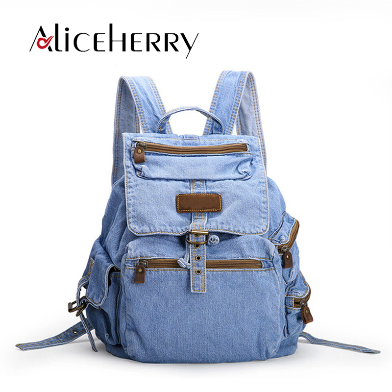 Womens fashion denim Backpack Casual Travel backpacks vintage school bag for teenage Girls women bags mochila feminina women backpack bag real leather backpacks for teenage girls school bags fashion travel backpack youth rucksack mochila feminina