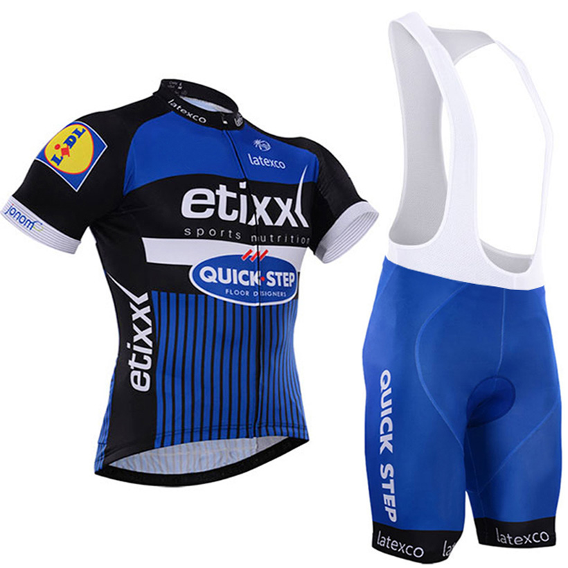 Blue Quick Step Cycling Clothing Bike jersey Quick Dry Bicycle clothes mens summer team Cycling Jerseys 9D gel bike shorts set cheji cycling jersey clothing women s bike set cycling jersey and bicycle gel padded shorts cycling kit clothing for ladies