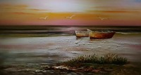 HandPainted Modern Beach Oil Painting on Canvas The Boat on the Beach Seascape Canvas Painting Wall Art Picture for Living Room