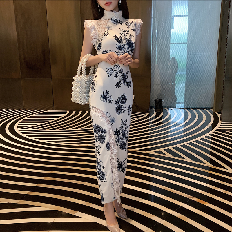 2020 Women Evening Party Dress Gown Elegant Long Qipao Lace Sleeveless Cheongsam Chinese Style Printing Flower Wedding Dress