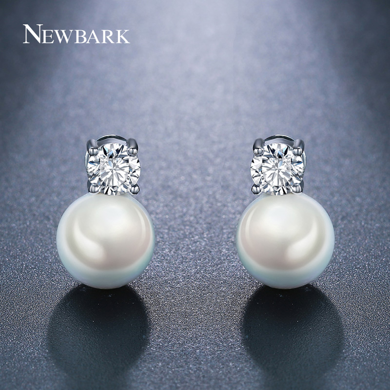 Newbark Fashion Silver Color Elegant Beauty Stud Earring Paved CZ With Round White Simulated Pearl Earrings Wedding Jewelry four color round stud earring set 4pair