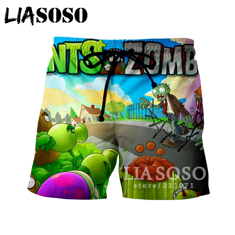 LIASOSO 2019 Summer New Men Women Shorts 3D Print Video Game Plants Vs Zombies Beach Fitness Shorts Casual Loose Clothing A183-9