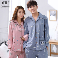 CherLemon Couples Matching Cute Puppy Printed Cotton Pajamas Long Sleeve Spring Comfortable Sleep Lounge Wear For