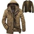 Мужчины Ветрозащитный Капюшоном Зимняя Куртка Пальто Куртка Хаки Армия Военных Молнии Пальто AFS JEEP Мужская Parkas 238