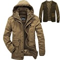 Men Windproof Hooded Winter Jacket Coats Parka Khaki Army Military Zipper Overcoat AFS JEEP Mens Parkas 238
