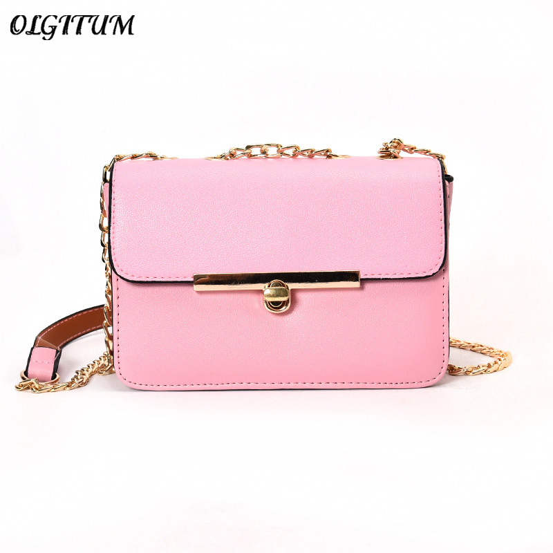 a3ed94cee5 Hot sale female PU Leather Crossbody Candy chain iron side turn lock  diagonal shoulder bag Lady Party Mini Handbag-in Top-Handle Bags from  Luggage   Bags on ...