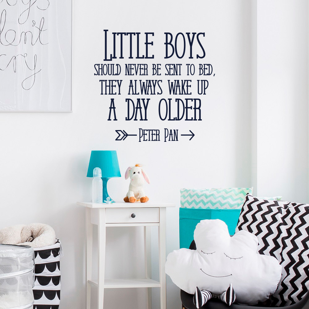 Compare prices on peter pan wall quotes online shoppingbuy low peter pan quote kids room wall decal little boys shoud never be sent to bed boys amipublicfo Gallery