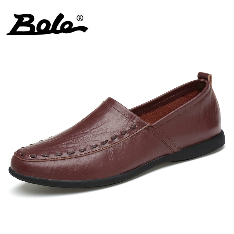 цена BOLE Brand Design Slip on Men Casual Shoes New Fashion Handmade Leather Men Shoes Comfort Flats Loafers Shoes Men Big Size 36-47 онлайн в 2017 году