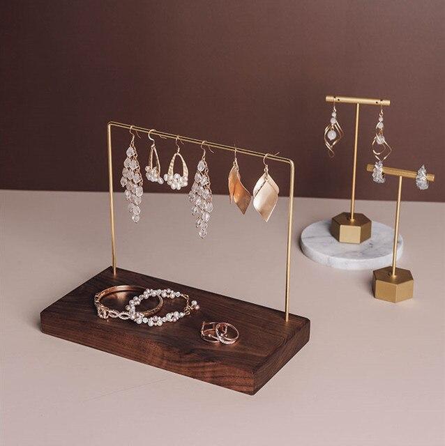 Czarny orzech drewno kamień marmur ekspozytor do biżuterii kolczyki łańcuch stojak wystawowy na naszyjnik kolczyki stojak wystawowy