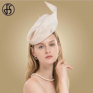 Image 4 - FS Fascinator Pink Ladies Hat For Wedding Women Elegant Kentucky Derby Hats Black Sinamay Church Linen Fedoras Chapeau Femme