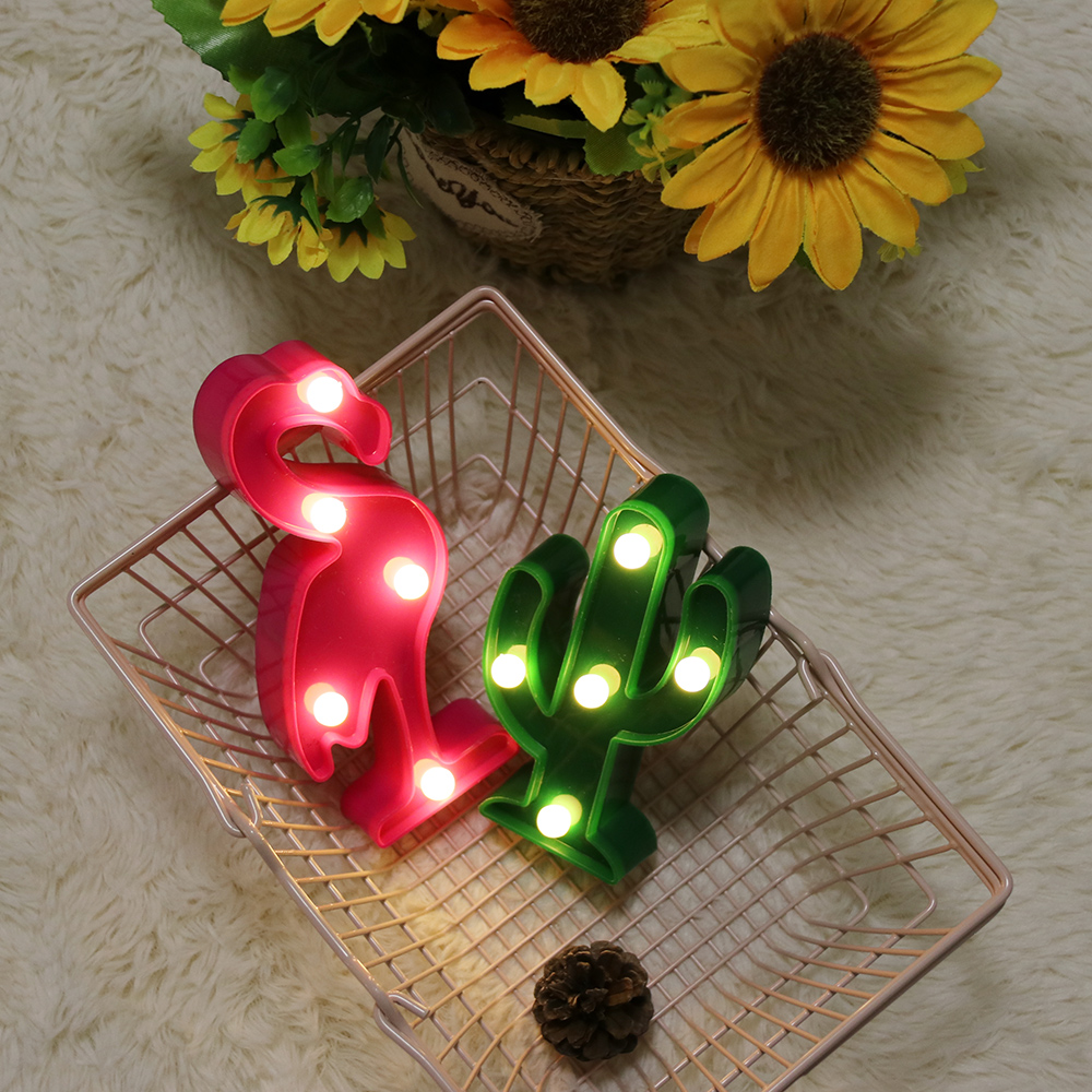 Cartoon Night Lights Flamingo/Cactus/Pineapple LED Table Lamp For Children Bedroom Party Decoration Baby Birthday Gift