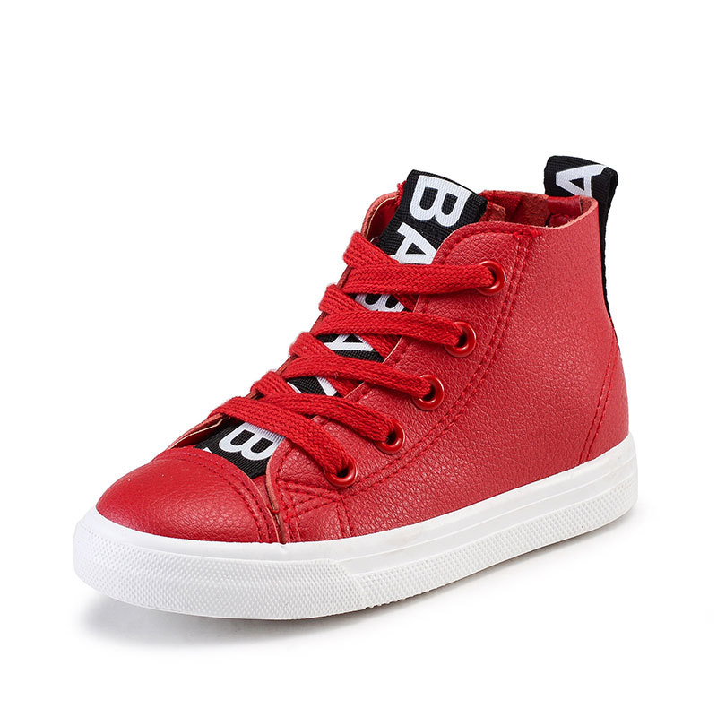 BABAYA Spring Children Shoes Boys Girls Sneakers Fashion Kids High Tops Leather Side Zipper Shoes Waterproof Black White 24-38