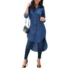 Women Fashion Solid Color Pockets Asymmetric Hem Denim Long Shirt Ladies Casual Lapel Buttons High Low Blouse Tops dip hem dual pockets front shirt