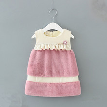 Baby Girls Dresses 2019 Winter A-line Faux Fur Velvet Sequined Kids Dress Baby Girls Children Dress with Pearls pink 0-2Y