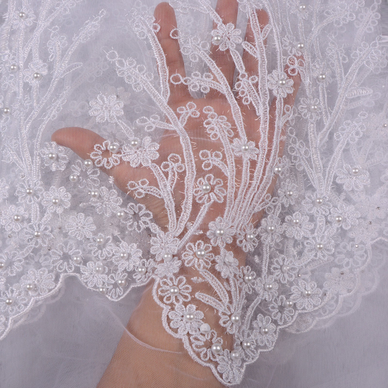 2018 French Embroidered Mesh Lace Fabric White Color African Lace Fabric High Quality Guipure Lace For
