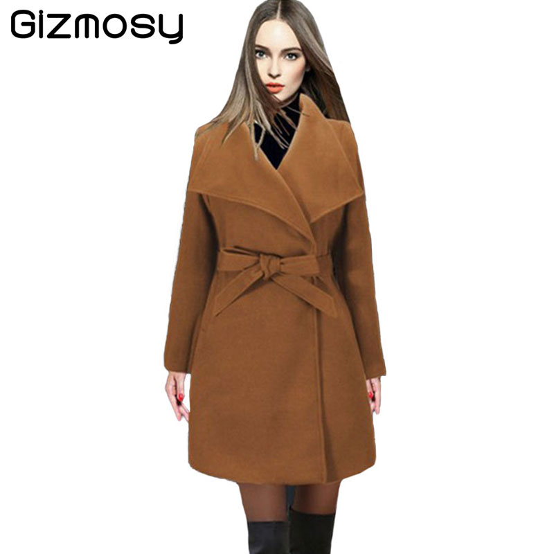 Lâche Veste Dame Hiver 1 Wool khaki Vêtements Femmes Trench Pc Nouveau Survêtement Automne Casual Blend Sy1807 Long Black Coat Pour Laine green De 2017 OO0Ta