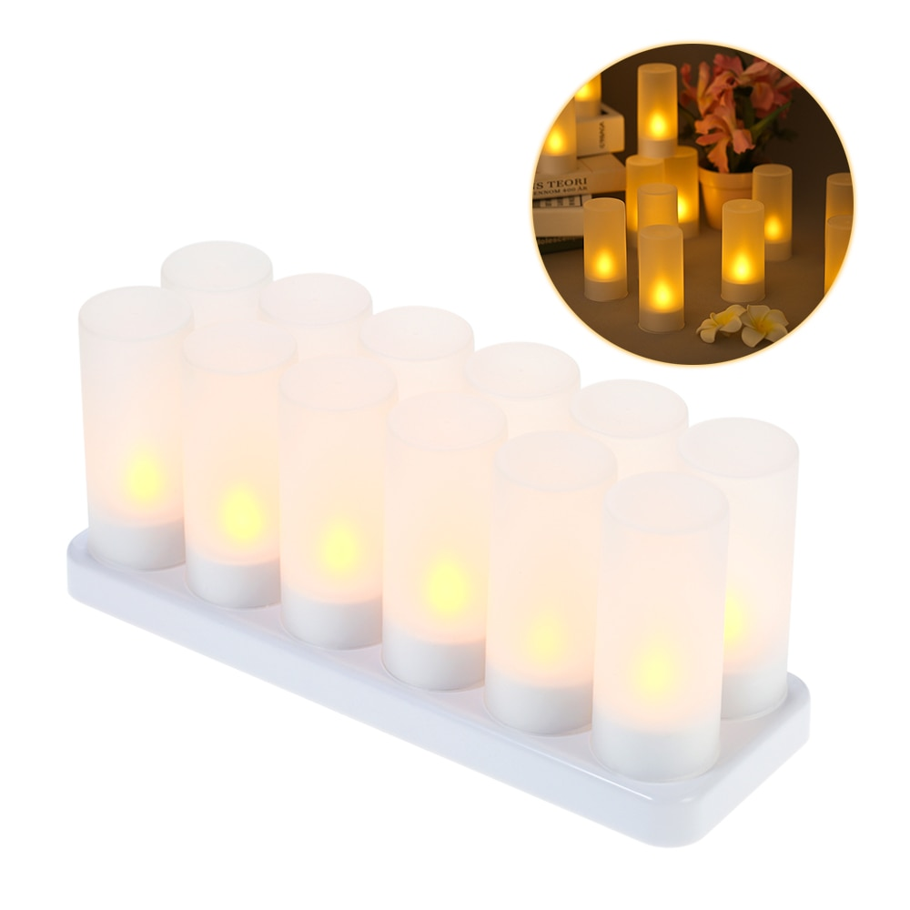 12pcs New Year Rechargeable LED Flickering Flameless Candles Tealight Candles Light with Frosted Cup Charging Base Yellow Light