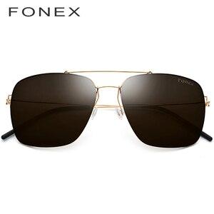 Image 2 - Поляризованные солнцезащитные очки из титанового сплава, мужские ультралегкие зеркальные солнцезащитные очки большого размера, квадратные очки для мужчин, 98622, 2019