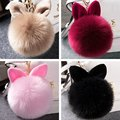 1pc Pompon Fluffy Porte Clef Pompom De Fourrure Women Femme Pom Pom Keychain Rabbit Ear Fur Ball Key Chain Rings For Bag