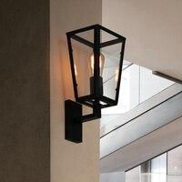 Vintage Retro Loft Schwarz Lackiertem Eisen Wand Lampe mit Klar Glas Lampenschirm Edison-birne Wand Leuchte für Gang Korridor