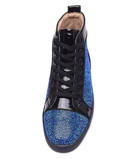 Boate Rebites Sapatas Luxo Hombre Sapatos Studded Altas Dos Casuais Pé Baixos Do Fundo De Zapatos Redondo Vermelho Homens Dedo Moda Superiores prwxpq