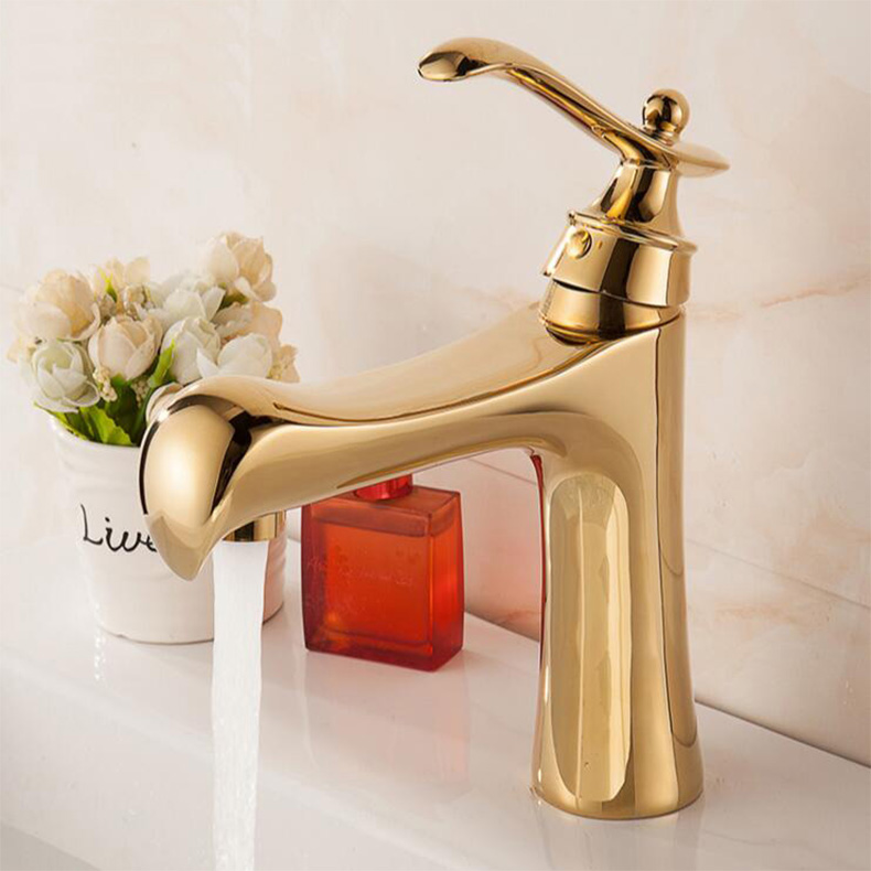 fashion high quality Gold art carved cold and hot single lever bathroom sink faucet basin faucet Tall Water tap high tech and fashion electric product shell plastic mold