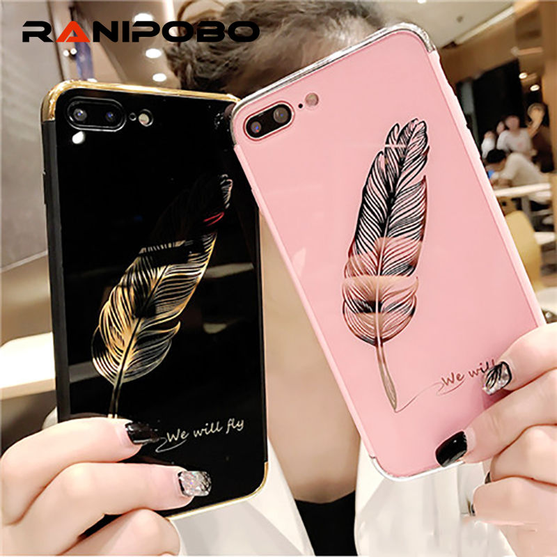 Luxury Quill pen Glossy Mirror Pink Cute Phone Case for iphone X 6 6S Plus 7 7Plus 8 8Plus Fashion feathers phone Back Cover