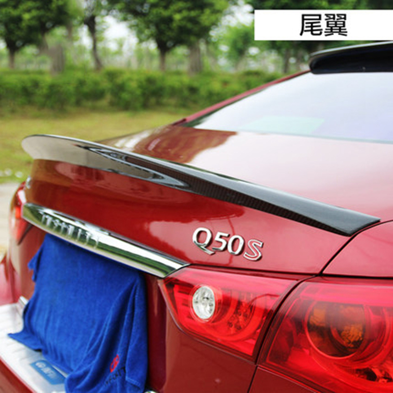 MONTFROD Car Styling For Infiniti Q50 Q50S Spoiler 2014 2015 2016 Q50 Carbon Fiber Rear Spoiler Tail Trunk Lid Wing Cover 1Pcs for suzuki sx4 s cross 2013 2014 automobile chrome rear door trunk lid cover trim car styling stickers accessories