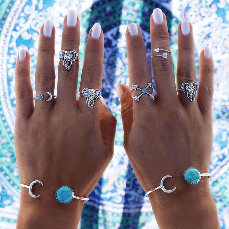 6 pcs 1 conjunto Boho Étnico Elefante Do Vintage Anéis Conjunto de Prata Antigo banhado a Seta Lua Midi Knuckle Anéis para As Mulheres Anéis de Dedo presente
