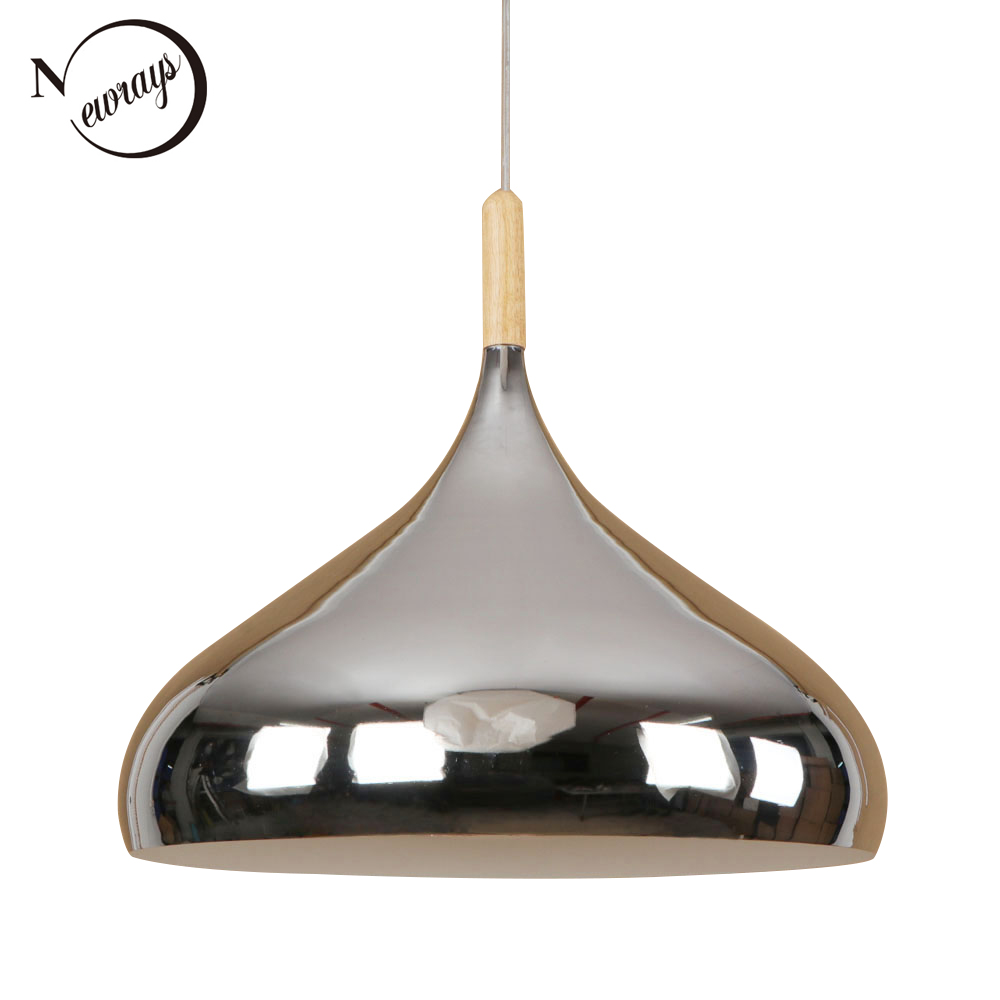 Modern Nordic mirror iron wood pendant light LED E27 creative loft hanging lamp for kitchen bedroom lobby lounge living room bar